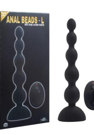 Aphrodisia - Anal Beads L - Anaal Plug vibrating - Met 3 Motoren - 21Cm - Zwart