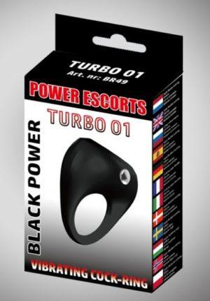 Power Escorts - Black Power - Turbo 01 - Vibrerende Cockring - BR49 - Zwart