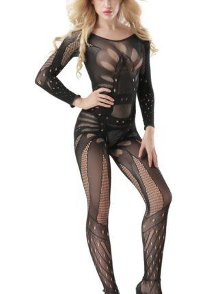 Body Pleasure - Super Strak - Sexy Lingerie Set - Uitdagende Body - Zwart - One Size - Cadeaubox - Tl18