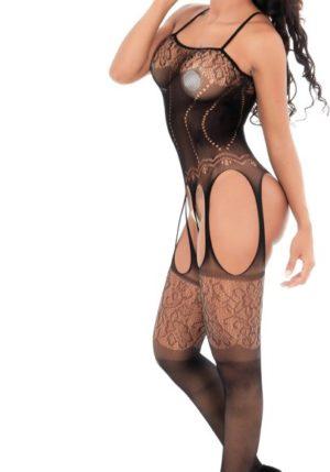 Body Pleasure - Super Strak - Sexy Lingerie Set - Uitdagende Body - Zwart - One Size - Cadeaubox - Tl26