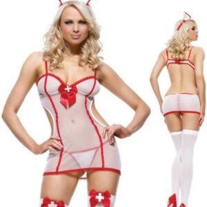 Body Pleasure - Super Strak - Sexy Lingerie - Verpleegster Setje- Nurse - Party Outfit - Rollenspel - Cadeaubox - One Size - Tl87