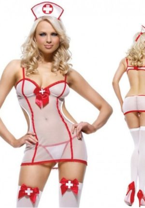 Body Pleasure - Super Strak - Sexy Lingerie - Verpleegster Setje- Nurse - Party Outfit - Rollenspel - Cadeaubox - One Size - Tl87